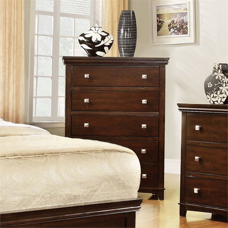 Kingfisher Lane 5 Drawer Chest in Brown Cherry