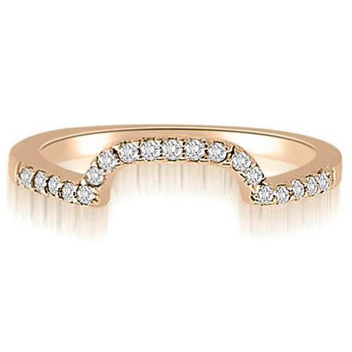 """0.19 cttw. 14K Rose Gold Curved Round Cut Diamond Wedding Ring (I1, H-I)"""