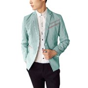 Back to College Gifts Men's Notched Lapel Long Sleeve Padded Shoulder Stripes Pattern Blazer (Size S / 34)