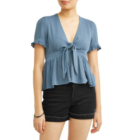 Princess Tie Back Blouse (Juniors' Ruffle Trim Tie Front Short Sleeve Blouse)