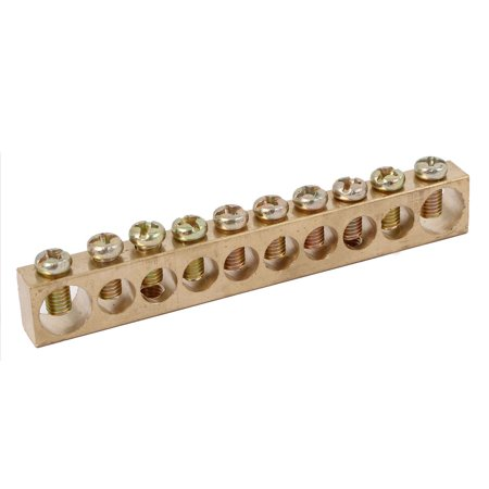 Copper Ground Bus Bar (10 Positions Distribution Cabinet Box Wire Terminal Ground Copper Neutral)