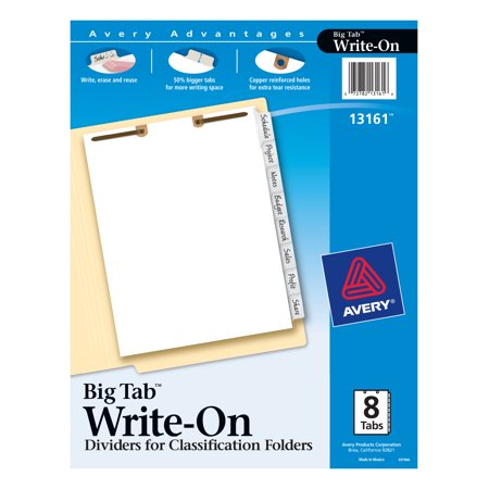 Avery Big Tab Write & Erase Dividers for Classification Folders, Side Tabs, 8-Tab