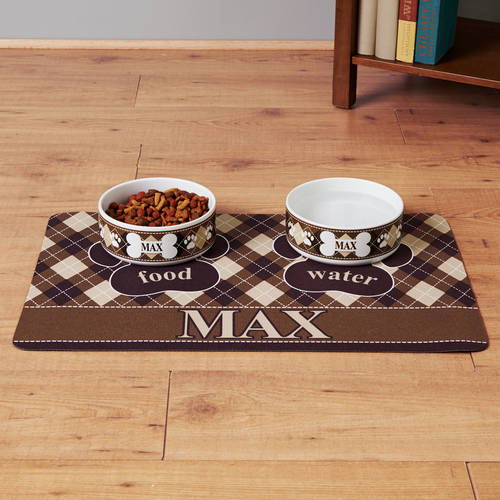 Personalized Blue Argyle Pet Placemat-Available in 4 Colors