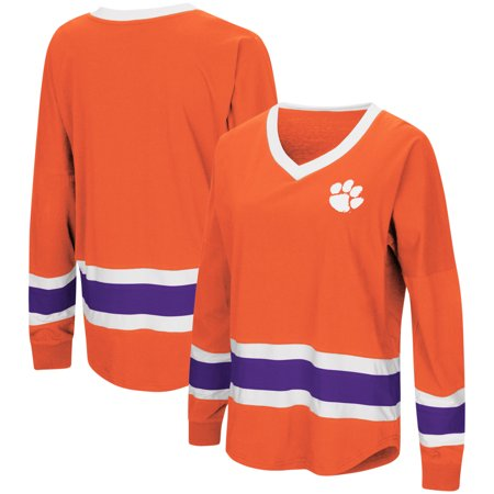Clemson Tigers Colosseum Women's Marquee Players Oversized Long Sleeve V-Neck Top - -