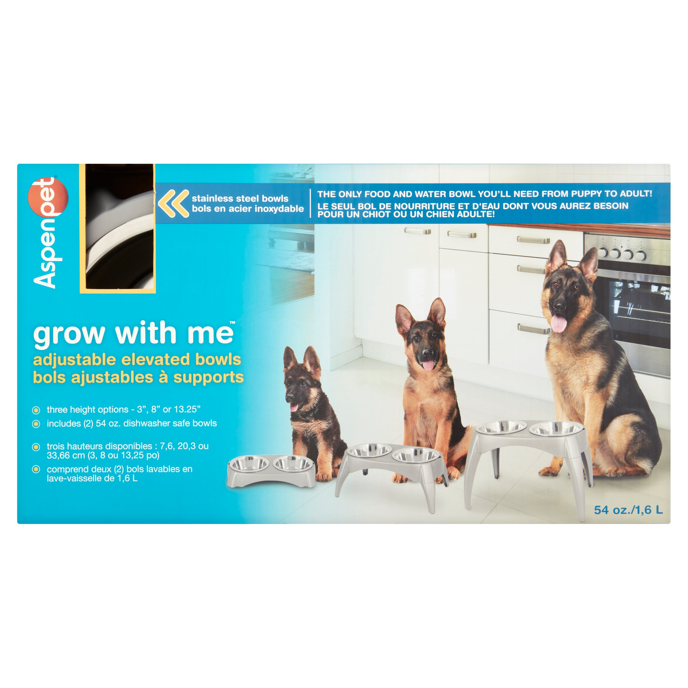Aspen Pet Grow with Me 54 oz Elevated Feeder, Set of 2