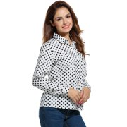 Women's Casual Polka Dot Long Sleeve Loose Button Down Shirt ...