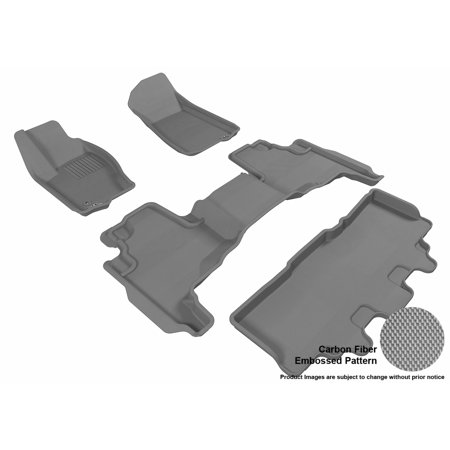 Liners Jeep Commander (3D MAXpider 2006-2010 Jeep Commander Front, Second, & Third Row Set All Weather Floor Liners in Gray with Carbon Fiber)