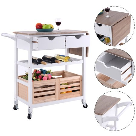 Costway Rolling Kitchen Trolley Island Cart Drop Leaf W Storage Drawer Basket Wine Rack
