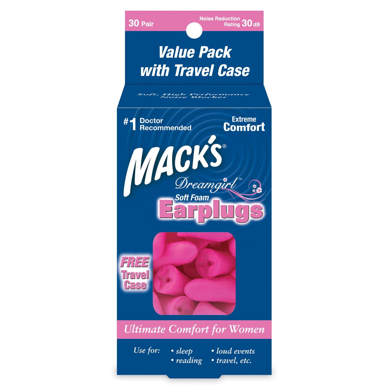 Mack's Dreamgirl Soft Foam Earplugs, 30 Pair with Free Travel Case