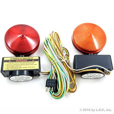 magnetic led trailer towing light kit magnet mount tow tail/brake lights  12v 40-led + wire harness - walmart com