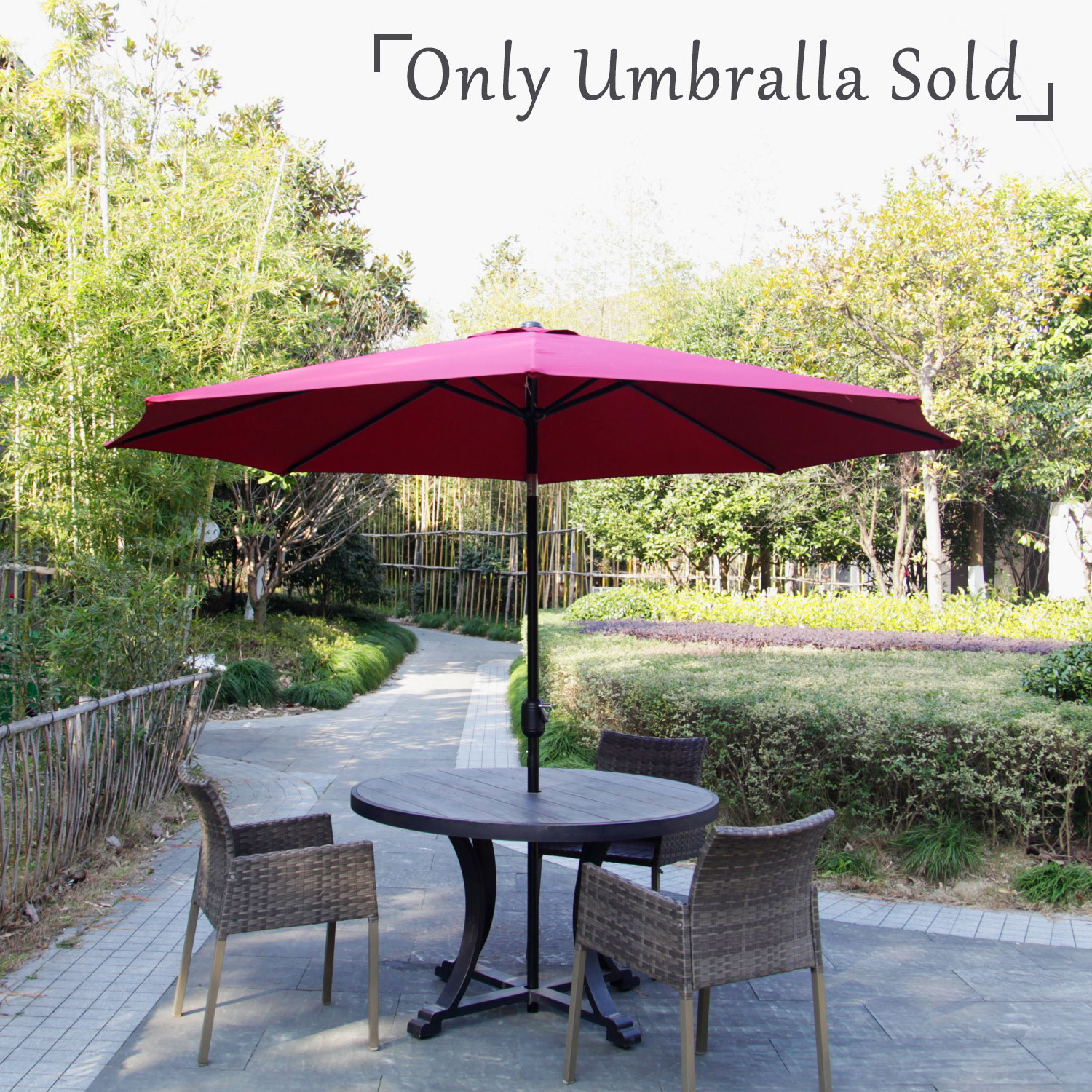 Kinbor Outdoor Table Iron 10F Patio Umbrella Garden Furniture with Crank and Tilt Octagon Red