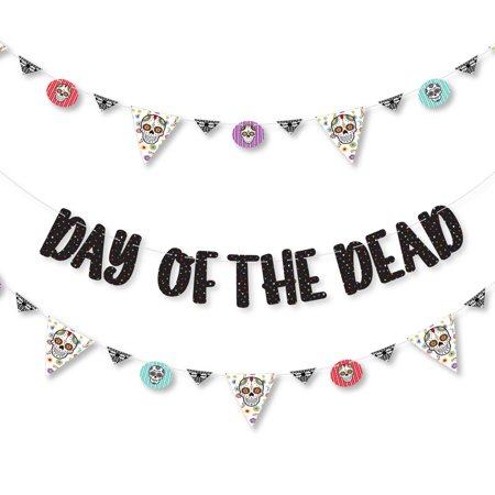 Day of The Dead - Halloween Sugar Skull Party Letter Banner Decoration - 36 Banner Cutouts and Day of The Dead Banner Le (Day Of The Dead Difference Between Halloween)