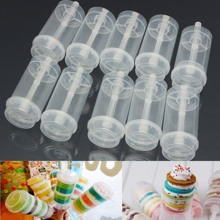 Cake Push Pop Containers (10X Clear Plastic Cake Dessert Push Up Pop Container Shooter for Party Wedding)