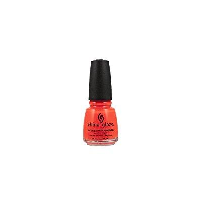 china glaze nail lacquer, neon orange knockout, 0.5 fluid ounce