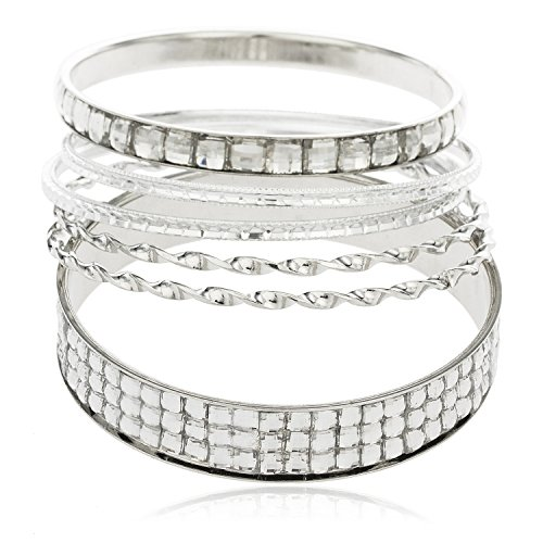 Iced Out Silvertone Twisted Style with Clear Stones Six Piece Bangle Bracelet Set