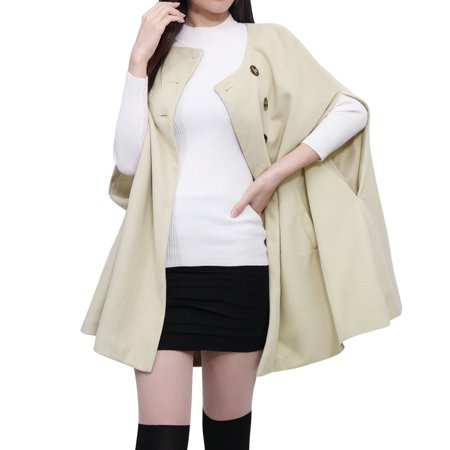 Unique Bargains Women's Slit Sleeves Poncho Coat