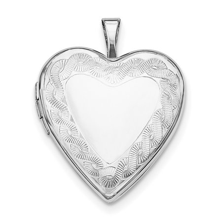 925 Sterling Silver Rhodium-plated Twisted Rope Edge Heart Locket