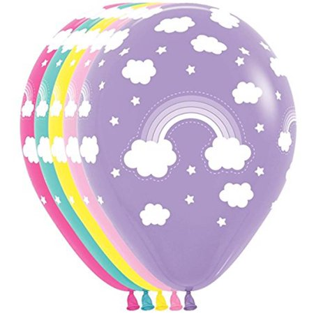 10 Magical Rainbow Cloud Assorted Colors Balloons 11