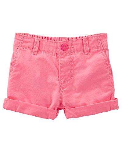 OshKosh B'gosh Baby Girls' Twill Roll Cuff Shorts- Neon Pink- 24 Months