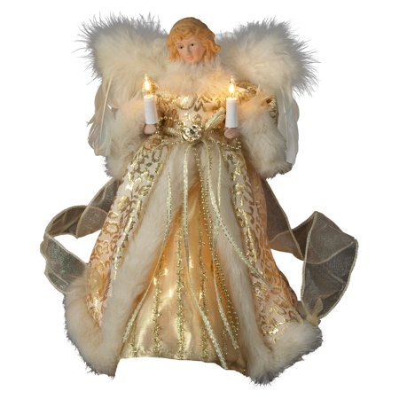 Kurt Adler 10 in. Ivory / Gold Angel Tree Topper (Animated Angel Tree Topper With Moving Wings)