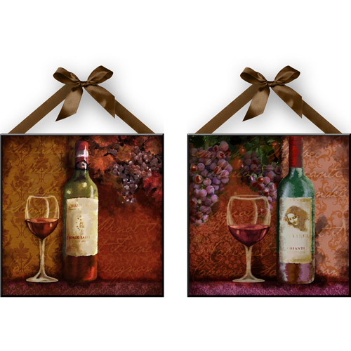 """Wine"" Wall Plaques, Set of 2"