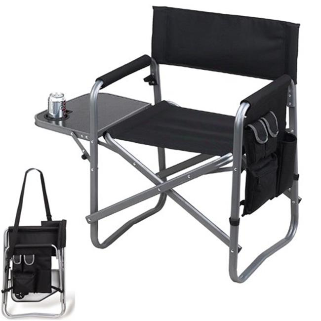 Picnic at Ascot 463-BLK Folding Sports Chair with Table and Organizer - Black