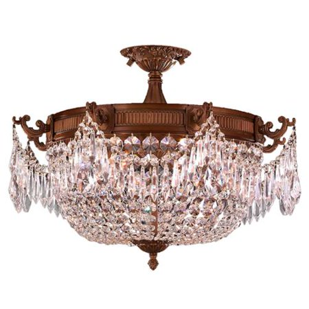 Brilliance Lighting and Chandeliers French Empire Basket Style Collection 3-light Antique Gold Finish with Clear Crystal 20-inch Basket Large (Brilliance Collection)