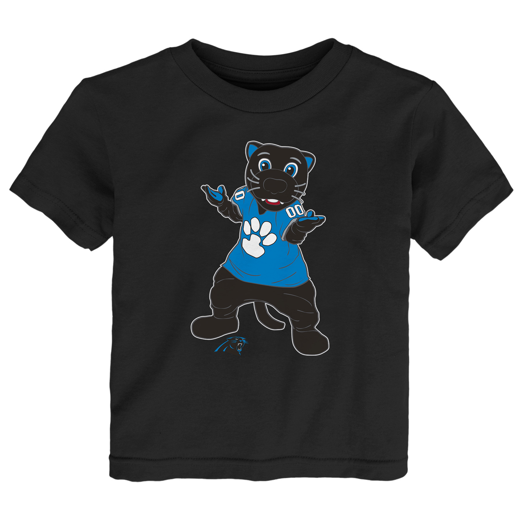 Carolina Panthers Toddler Standing Team Mascot T-Shirt - Black - 2T