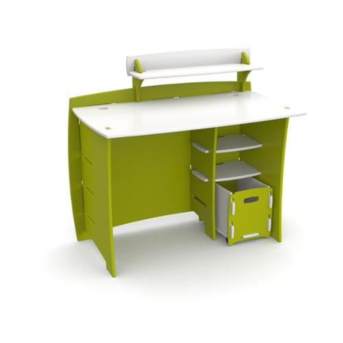 Legare Kids Furniture 43-inch Complete Lime Green and White Desk System with File Cart by Kittrich Corporation