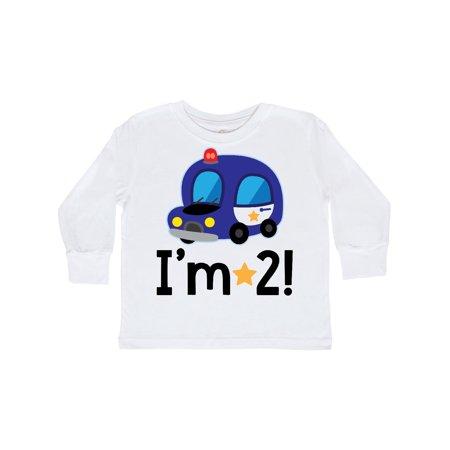 880d16805 Inktastic - 2nd Birthday Police Car Policeman Party Toddler Long Sleeve T- Shirt - Walmart.com