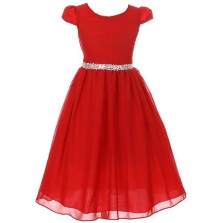 Little Girls Dress Short Sleeve Chiffon Rhinestone Belt Holiday Party Flower Girl Dress Red Size 2 (K64K20)](Girls Red Party Dress)