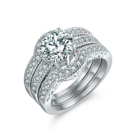 Devuggo 3 Piece Ring Band Set 2.50Ct Round Solid Sterling Silver CZ Wedding Engagement Gifts for Women