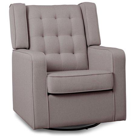Delta Children Milan Upholstered Glider Swivel Rocker Chair, French Grey ()