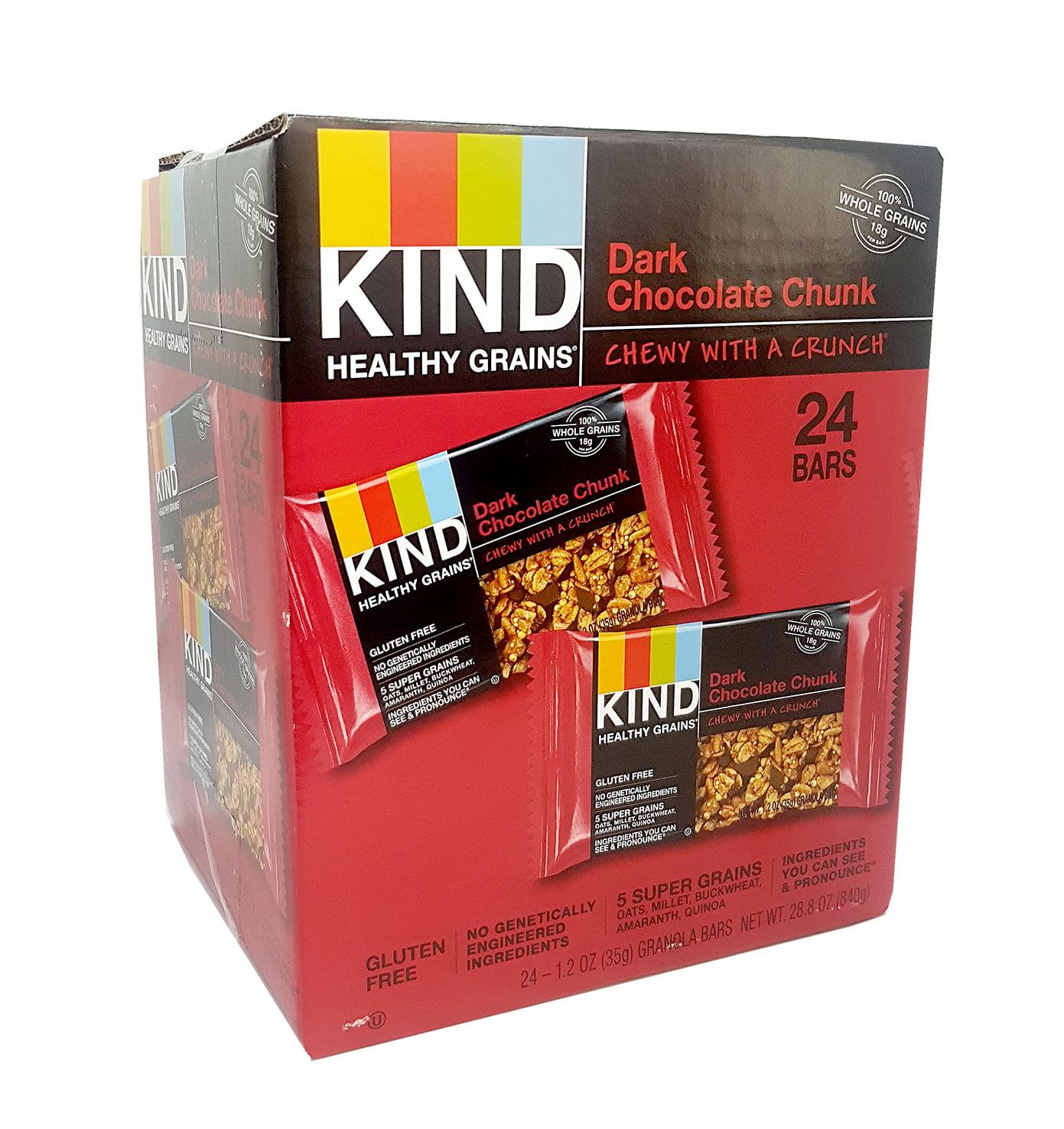 KIND Healthy Grains Bar Dark Chocolate Chunk Chewy with a Crunch 1.2 Oz. 24 Bars