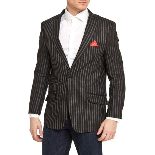 Elie Balleh Men's Slim Fit Wool-blend Pinstriped Blazer Black, XLarge