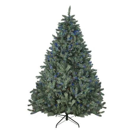 Northlight 7.5' Pre-Lit Artificial Christmas Tree Colorado Blue Spruce - Multi-Color LED (Colorado Blue Spruce Pre Lit Christmas Tree)