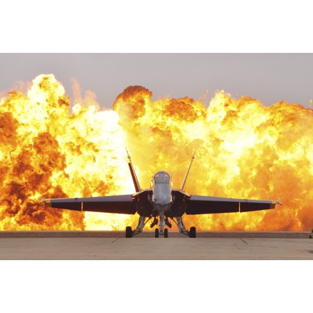 An FA-18 Hornet sits on the flight line as a wall of fire detonates behind it Poster Print 18 Walk Behind Blade