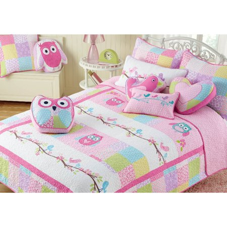 BEST BEDDING INC Cozy Line Pink Owl Cotton 3-piece Quilt