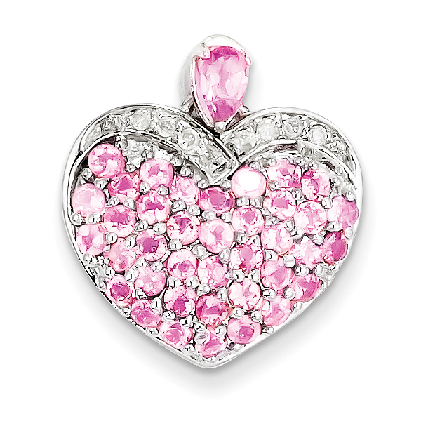 Sterling Silver Pink Tourmaline & Diamond Heart Pendant by Core Silver
