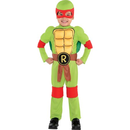 Amscan Teenage Mutant Ninja Turtles Raphael Muscle Halloween Costume for Toddler Boys, 3-4T, with Included