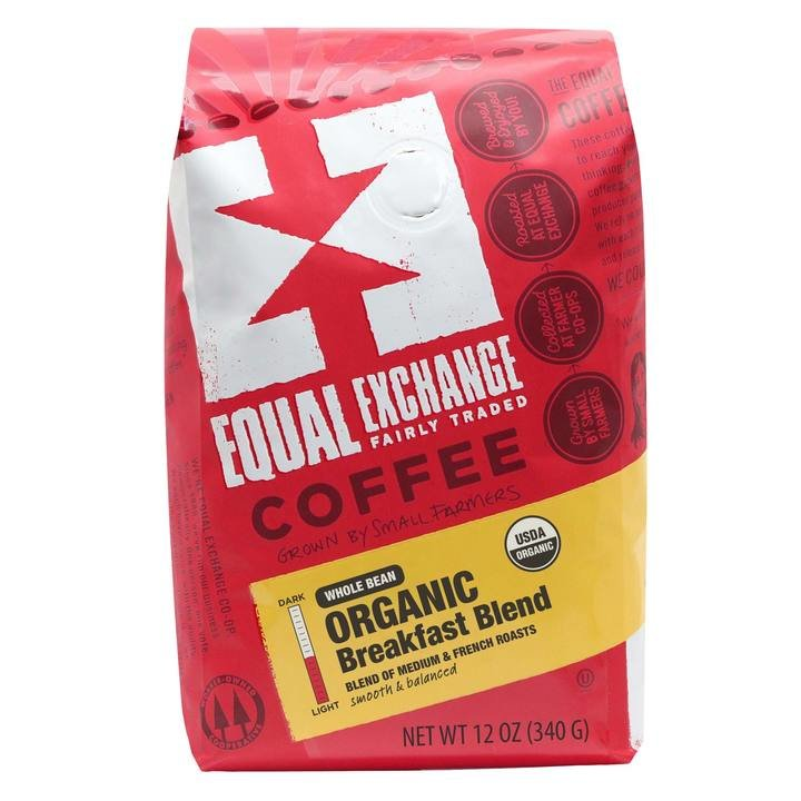 Equal Exchange Organic Breakfast Blend Whole Bean Coffee, 12 Ounces