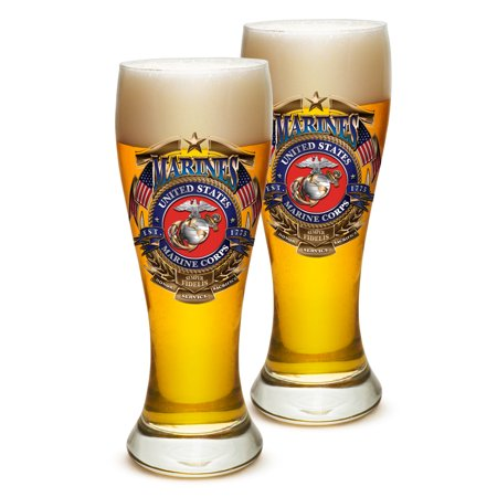 Pilsner – US Marine Corps Gifts for Men or Women – USMC Badge of Honor Beer Glassware – USMC Barware Glasses Set of 24 (23 Oz)