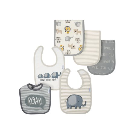 Organic Cotton Blend Terry Bib & Burp Baby Shower Gift Set, 6pc (Baby Boy)