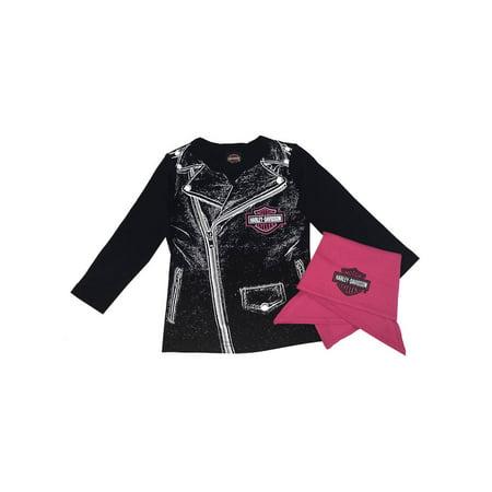 Harley-Davidson Baby Girls' Biker Babe Tee & Doo Rag Newborn Starter Kit 2503717, Harley Davidson - Girl With Harley