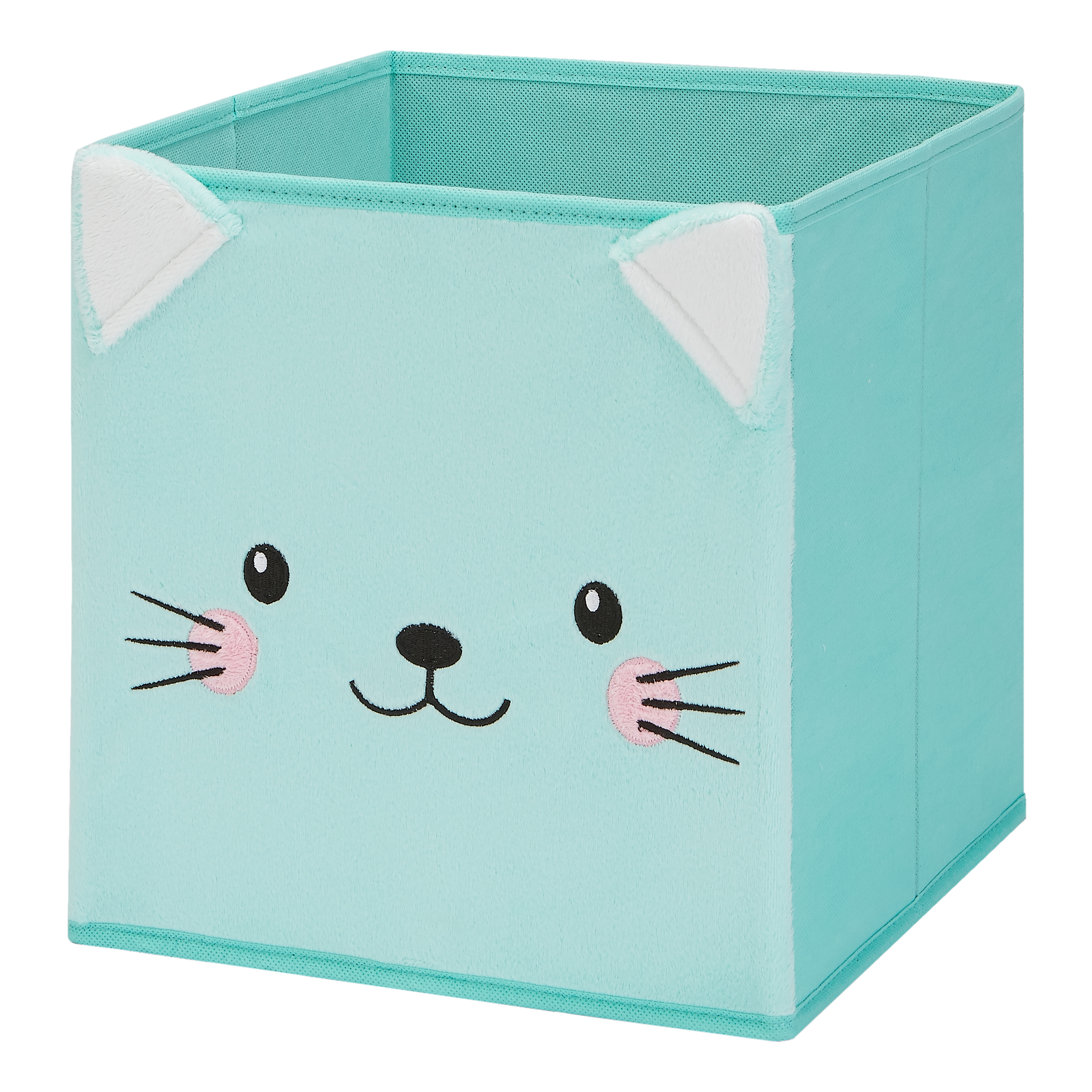 "Mainstays Kids Collapsible Storage Fabric Bin, Cat, Mint, 10.5"" x 10.5"" x 11"""