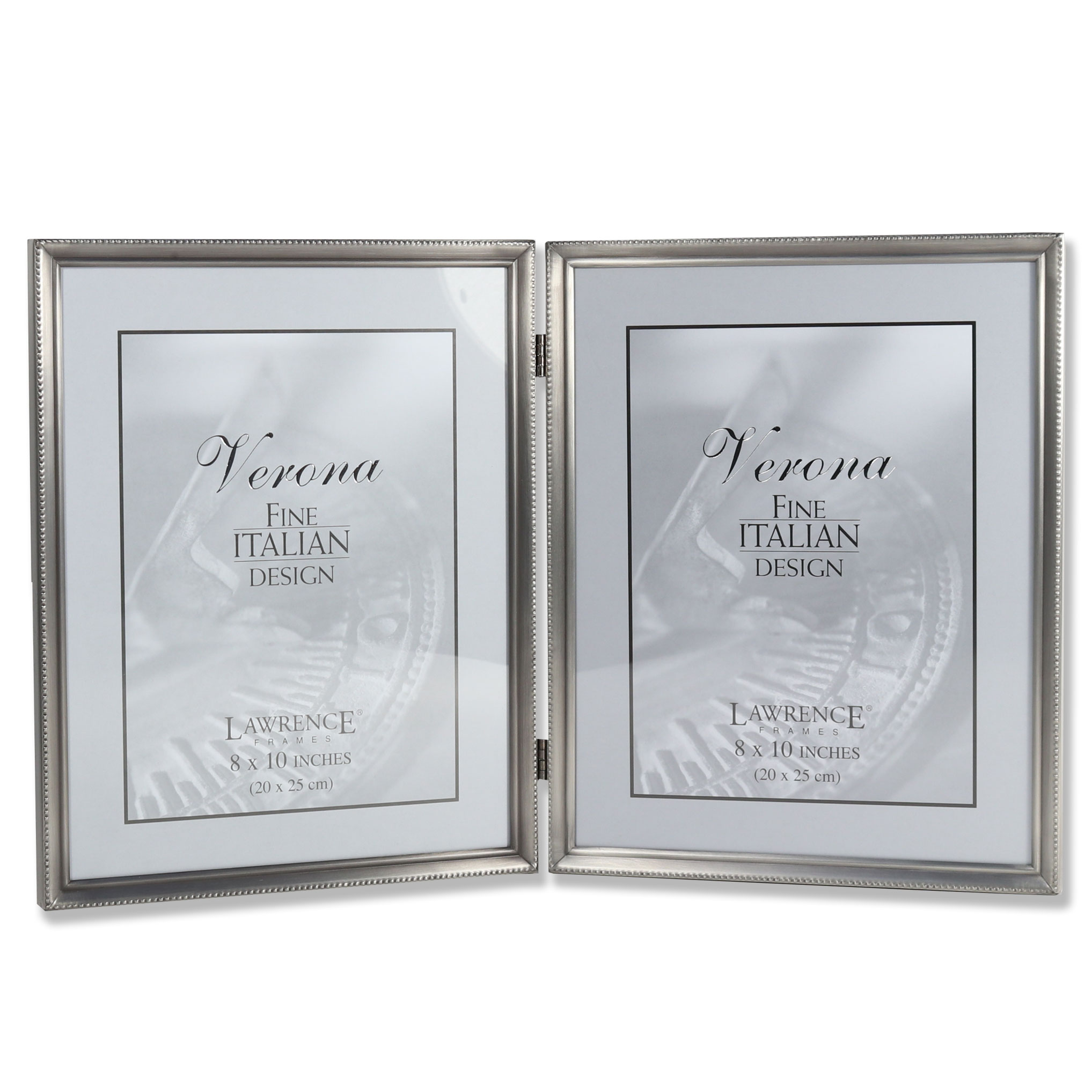 Antique Pewter 8x10 Hinged Double Picture Frame Bead Border Design