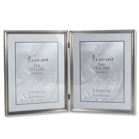 Antique Pewter 8x10 Hinged Double Picture Frame - Bead Border Design ()