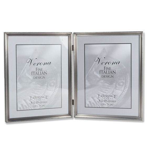 Antique Pewter 8x10 Hinged Double Picture Frame - Bead Border Design ...