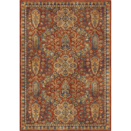- Orian Bohemian Area Rugs - 4511 Transitional Casual Red Feathered Garlands Petals Leaves Rug