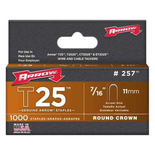 Arrow 7 16-Inch T25 Round Crown Staples, 1000 Count by Arrow Fastener